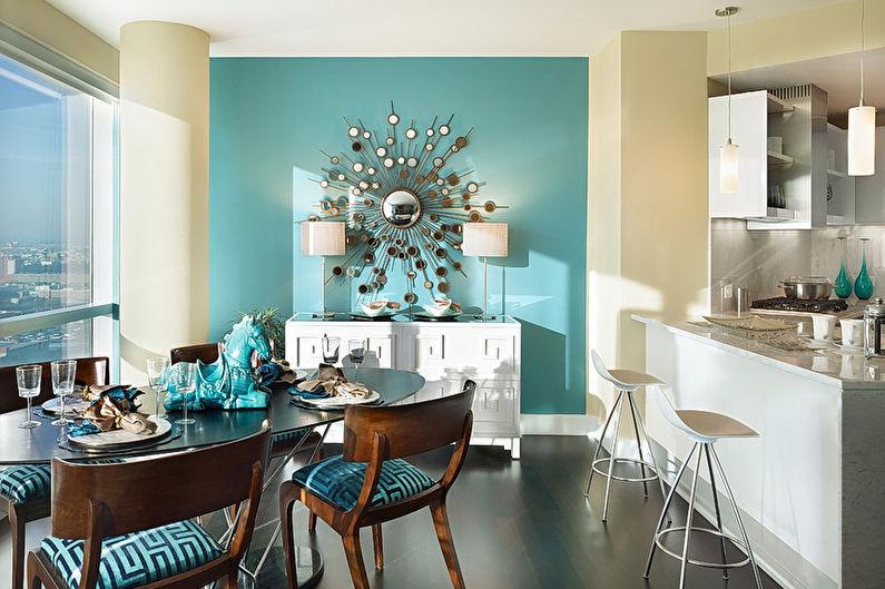 Синяя кухня в стиле арт-деко - Дизайн интерьера