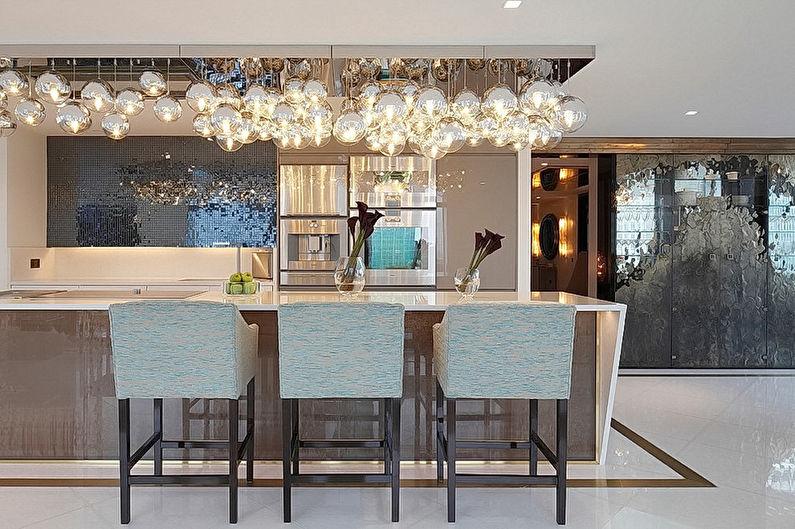 Дизайн кухни в стиле арт-деко - Отделка потолка