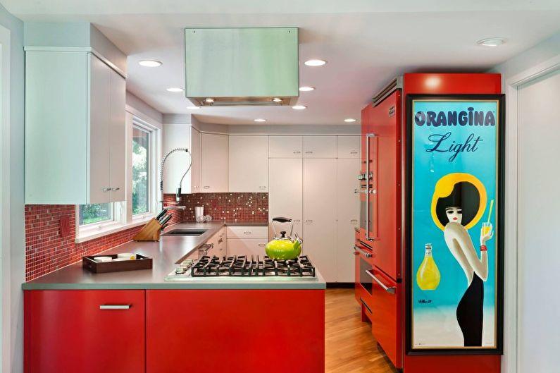 Красная кухня в современном стиле - Дизайн интерьера
