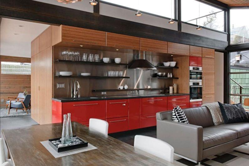 Красная кухня в стиле лофт - Дизайн интерьера