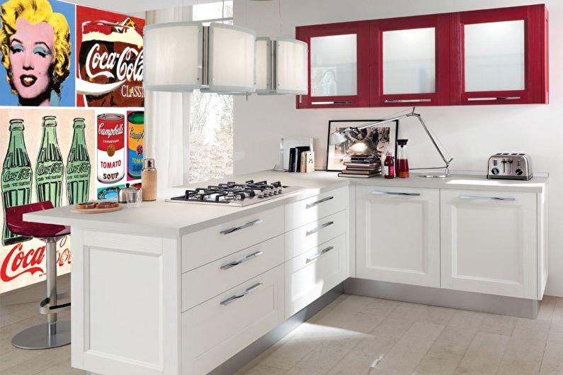 Красная кухня в стиле поп-арт - Дизайн интерьера
