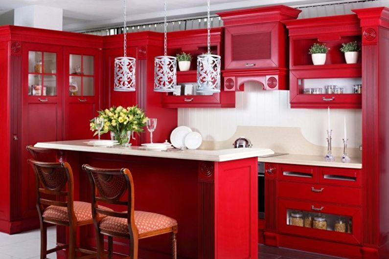 Красная кухня в восточном стиле - Дизайн интерьера