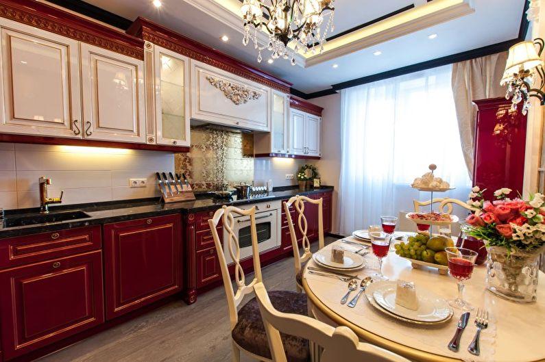 Красная кухня в викторианском стиле - Дизайн интерьера