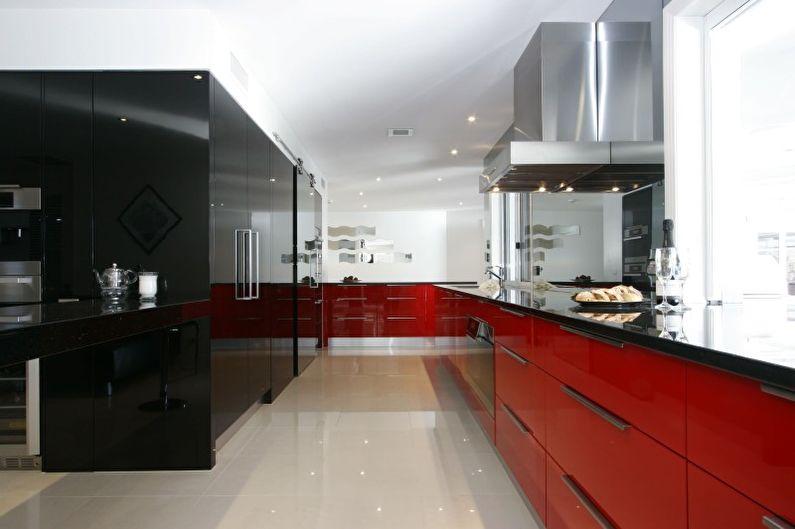 Дизайн красной кухни - Отделка пола