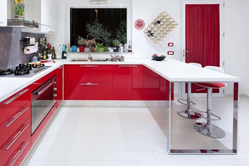 Дизайн кухни в красных тонах - Мебель
