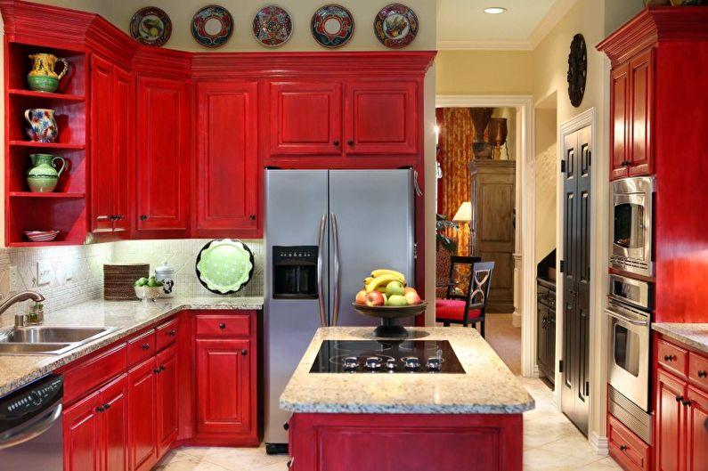 Дизайн кухни в красных тонах - Декор и освещение