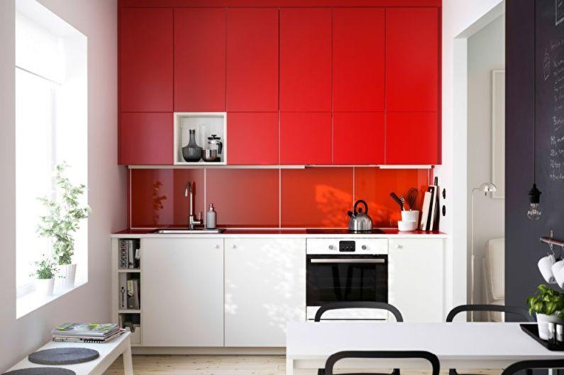 Дизайн интерьера кухни в красном цвете - фото