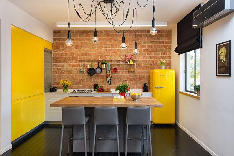 Желтая кухня в стиле лофт - Дизайн интерьера