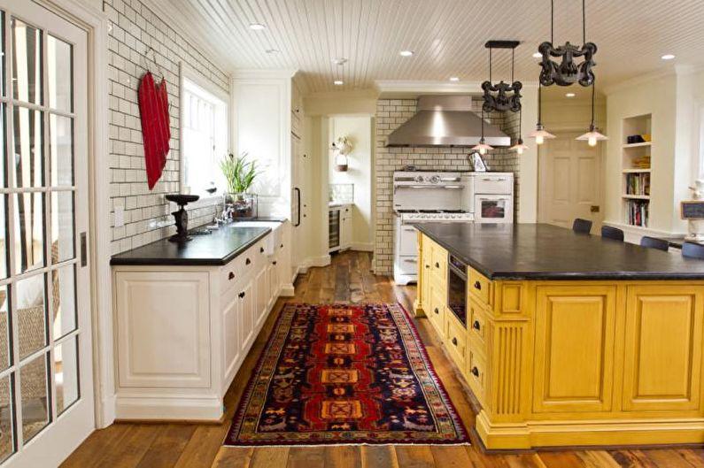 Дизайн кухни в желтых тонах - Отделка стен