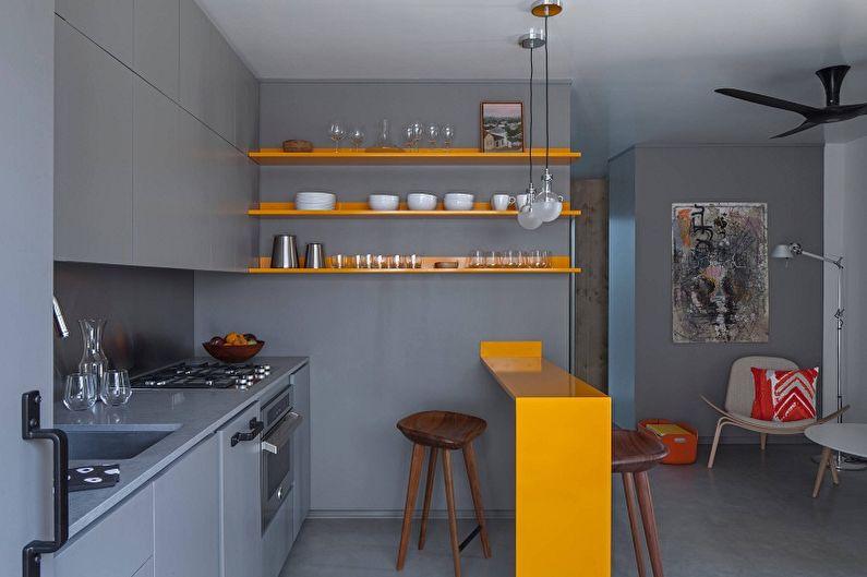 Дизайн маленькой желтой кухни