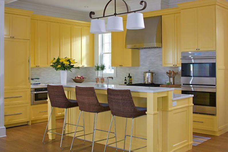 Дизайн интерьера кухни в желтом цвете - фото