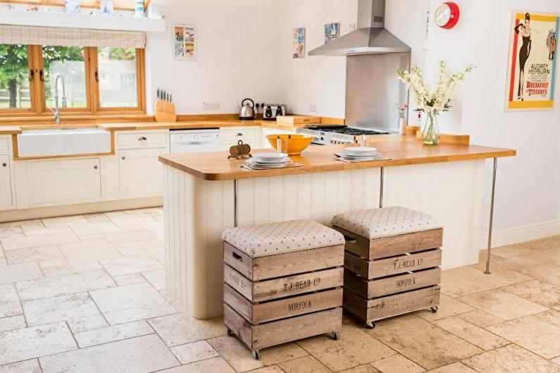 Белая кухня в стиле кантри - Дизайн интерьера