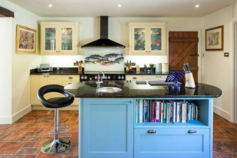 Белая кухня в морском стиле - Дизайн интерьера
