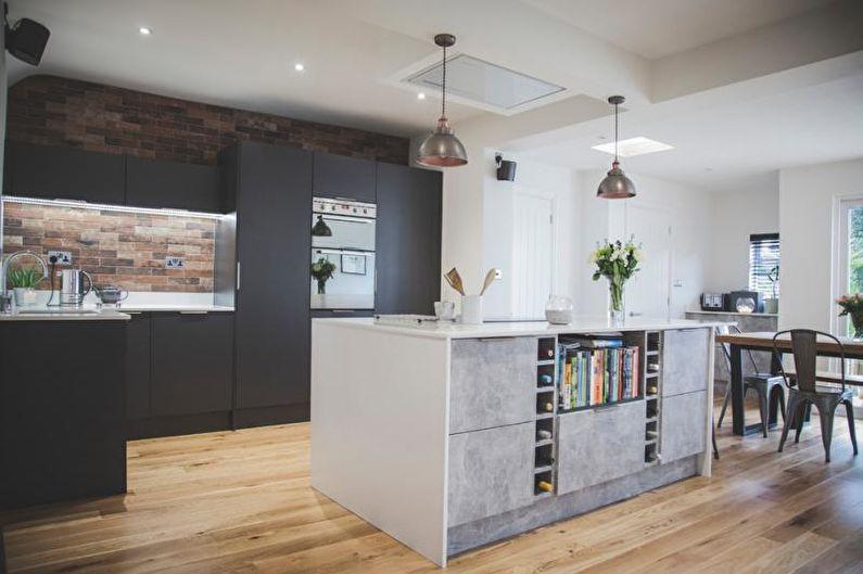Дизайн белой кухни - Отделка пола