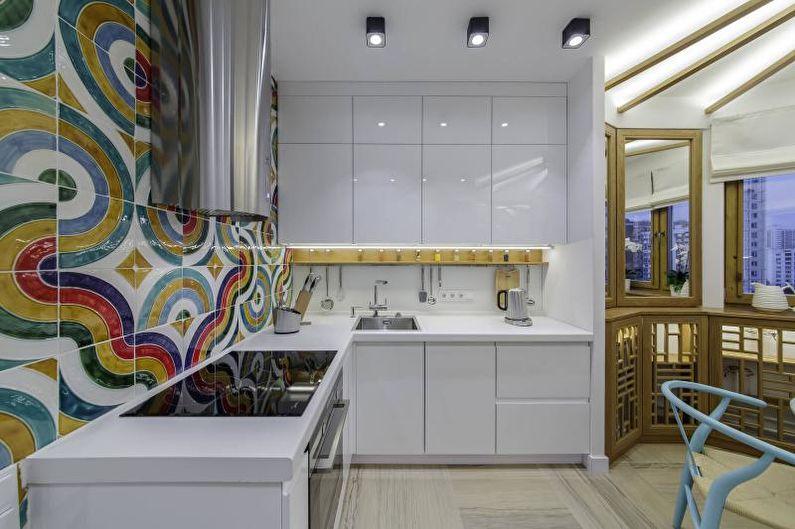 Дизайн белой кухни - Отделка стен