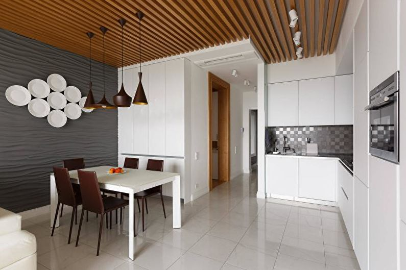 Дизайн белой кухни - Отделка потолка