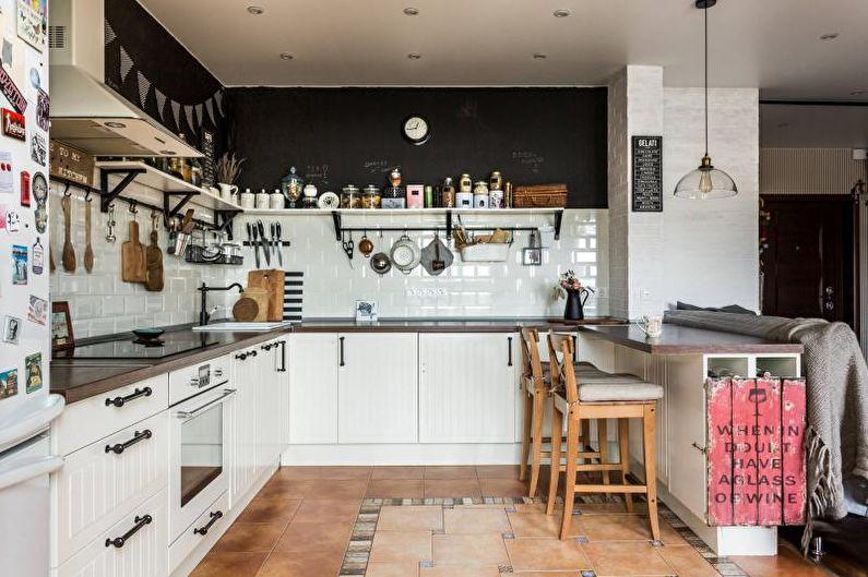 Дизайн интерьера кухни в белом цвете - фото