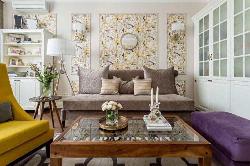 Комбинирование обоев в гостиной: 70 фото-идей