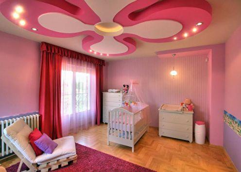 Потолок из гипсокартона в детской (65 фото)