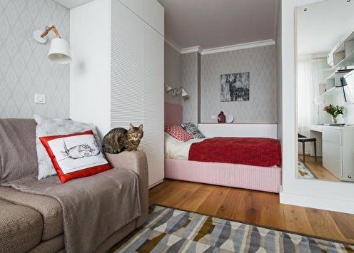 Дизайн однокомнатной квартиры 33 кв.м. (65 фото)