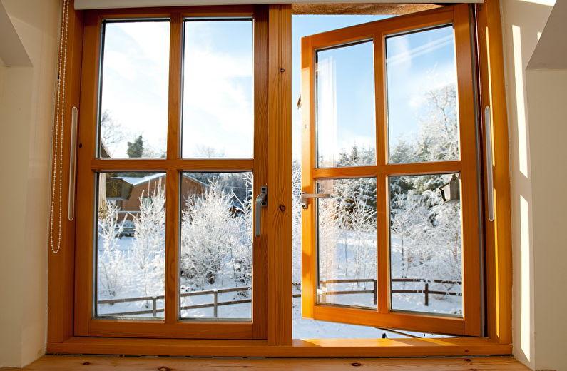 Деревянные окна отлично удерживают тепло
