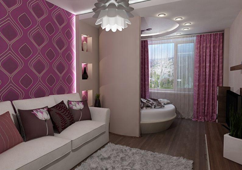 Дизайн интерьера спальни в хрущевке - Зонирование
