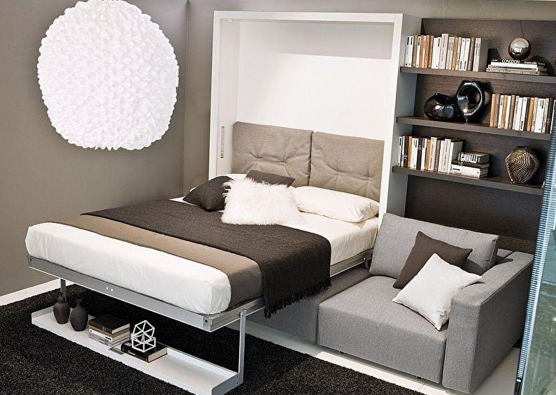 Дизайн интерьера спальни в хрущевке - Раскладная кровать