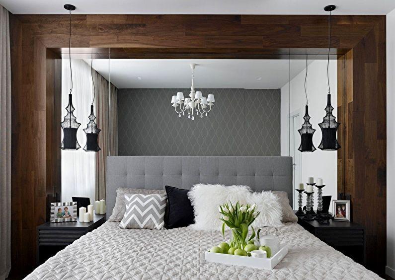 Дизайн интерьера спальни в хрущевке - Большое зеркало в изголовье кровати