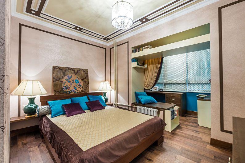 Дизайн интерьера спальни в хрущевке - Объединение с балконом