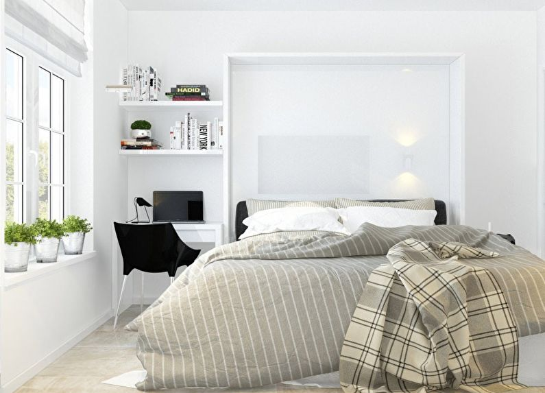 Белая спальня в хрущевке - дизайн интерьера