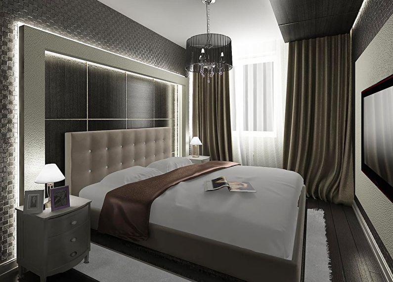 Черная спальня в хрущевке - дизайн интерьера