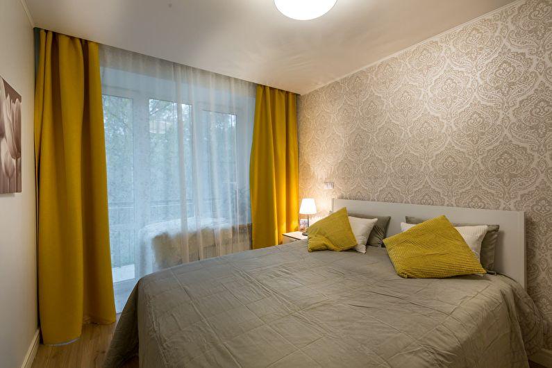 Бежевая спальня в хрущевке - дизайн интерьера