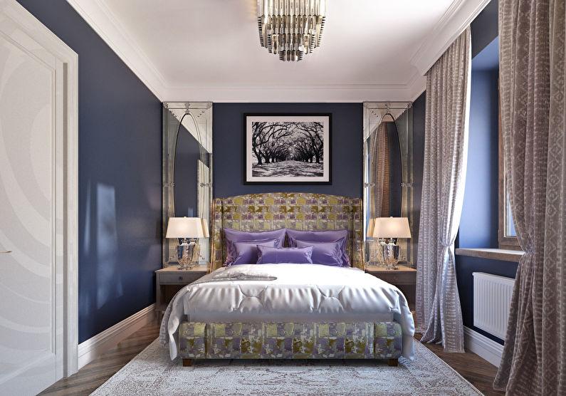 Синяя спальня в хрущевке - дизайн интерьера