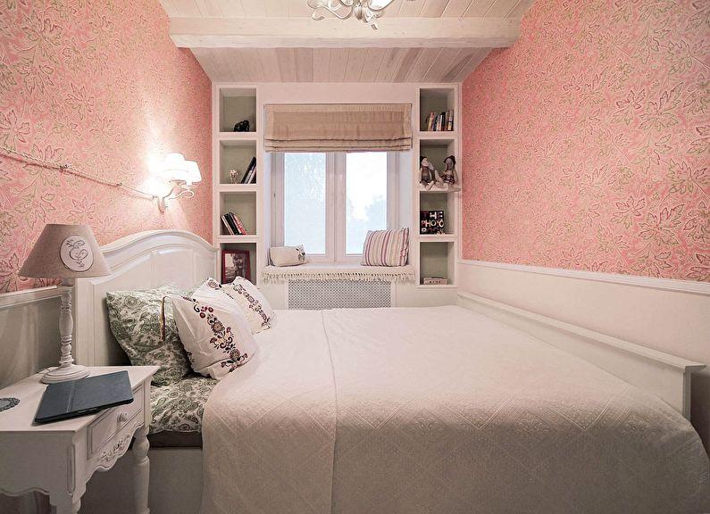 Розовая спальня в хрущевке - дизайн интерьера