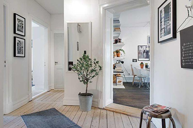 Белые обои для прихожей в скандинавском стиле - фото