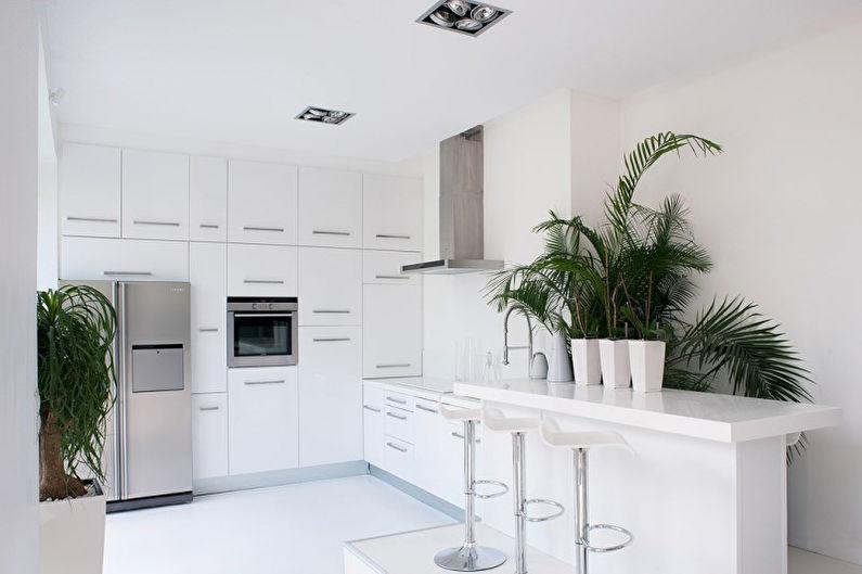 Белая кухня 8 кв.м. - дизайн интерьера