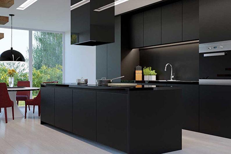 Черная кухня 8 кв.м. - дизайн интерьера