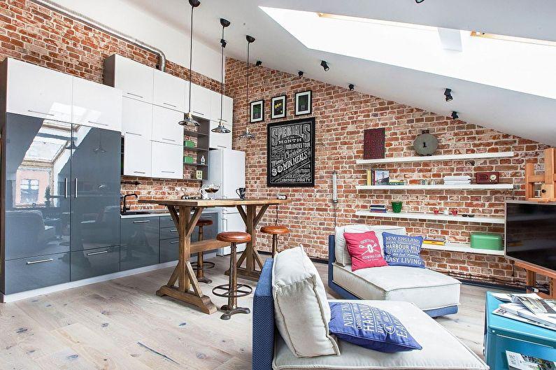 Дизайн однокомнатной квартиры 40 кв.м. на мансарде