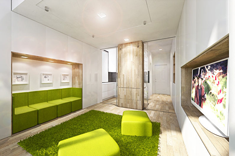 Однокомнатная квартира-трансформер площадью 40 кв.м. - дизайн интерьера