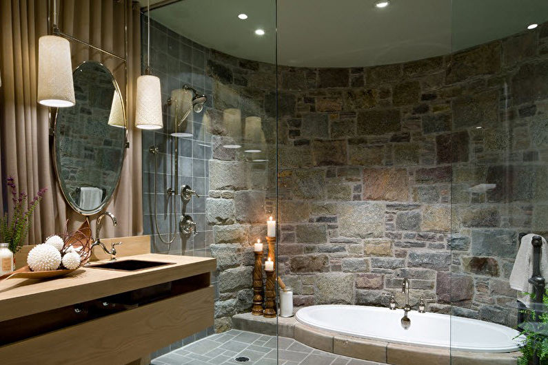Материалы для отделки стен в ванной комнате - Декоративный камень