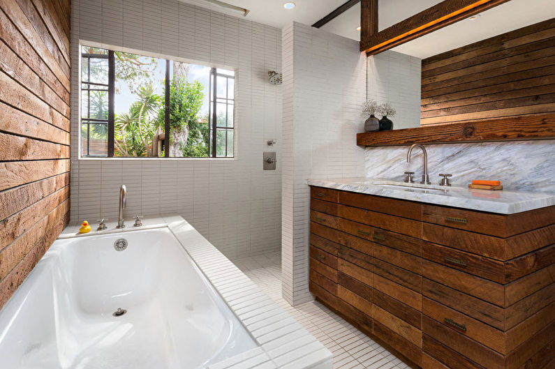 Материалы для отделки стен в ванной комнате - Дерево