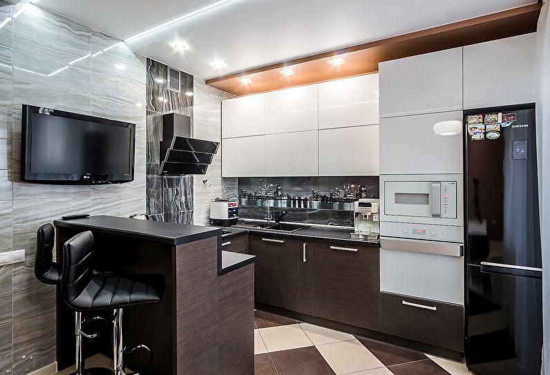 Маленькая кухня в стиле хай-тек - дизайн интерьера