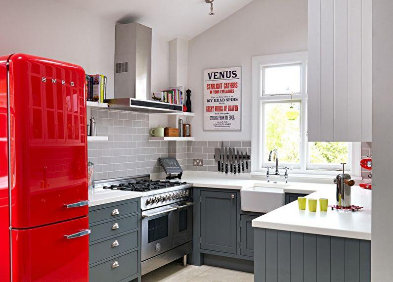 Маленькая кухня в серых тонах - дизайн интерьера