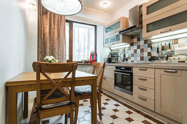 Маленькая кухня в бежевом цвете - дизайн интерьера