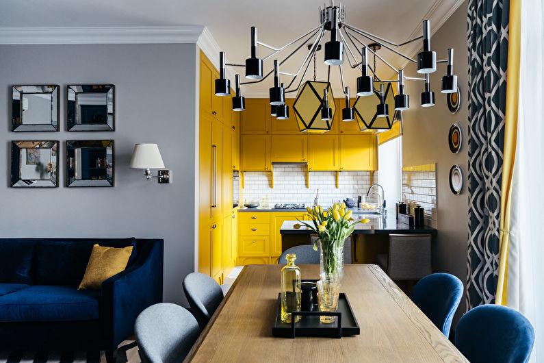 Маленькая кухня в желтых тонах - дизайн интерьера