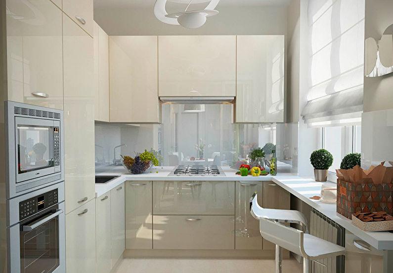 Современный интерьер маленькой кухни.