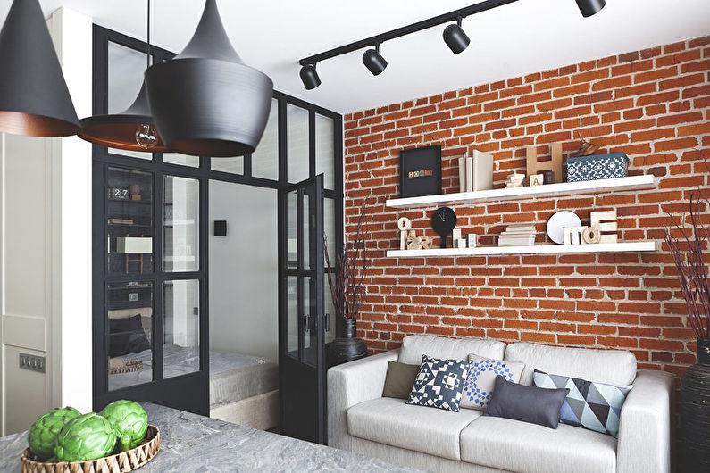 Дизайн гостиной 18 кв.м. в стиле лофт