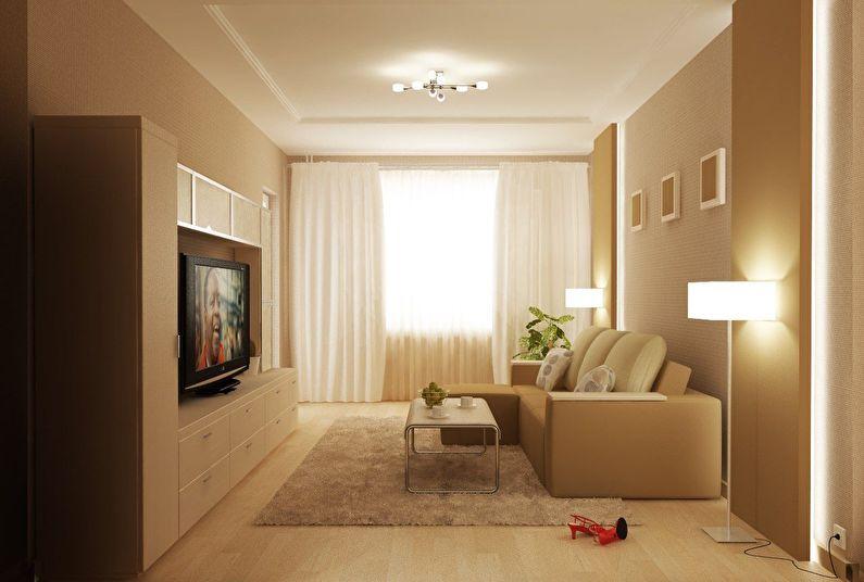 Дизайн гостиной 18 кв.м. - освещение и подсветка