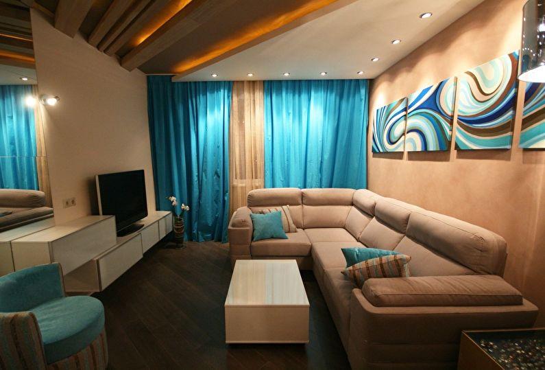 Дизайн интерьера гостиной 18 кв.м. - фото