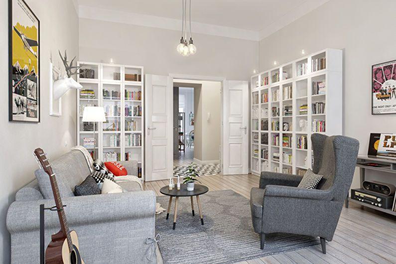 Дизайн гостиной 20 кв.м. в скандинавском стиле